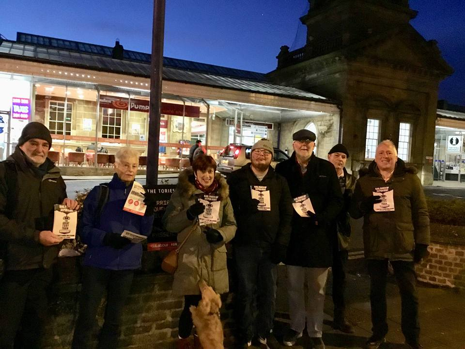 Labour members campaigning at Scarborough station against the 2018 rise in rail fares